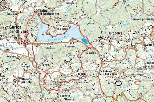 Zemljevid prehojene poti 18. pohoda po KS (Vir zemljevida: Geopedia)